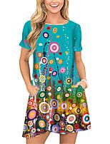cheap -Women's T Shirt Dress Tee Dress Short Mini Dress Blue Short Sleeve Floral Print Pocket Print Spring Summer Round Neck Casual 2021 S M L XL XXL 3XL