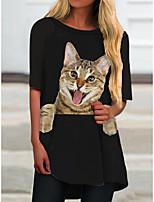baratos -Mulheres Vestido T shirt Mini vestido curto Preto Meia Manga Gato Animal Estampado Primavera Verão Decote Redondo Casual 2021 S M L XL XXL 3XL