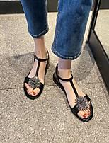 cheap -Women's Sandals Boho Bohemia Beach Flat Heel Round Toe PU Synthetics Black Beige