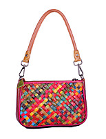 cheap -new style leather bag ladies woven bag cowhide hand-stripe color straw woven bag shell small bag shoulder bag