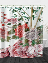 cheap -Beautiful Flower Bamboo Print Waterproof Fabric Shower Curtain for Bathroom Home Decor Covered Bathtub Curtains Liner Includes with Hooks
