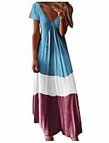 cheap -shakumy womens summer tie dye print color block maxi dress loose casual v neck short sleeve fashion long beach boho dresses