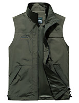 cheap -Men's Hiking Vest / Gilet Fishing Vest Sleeveless Vest / Gilet Jacket Top Outdoor Quick Dry Lightweight Breathable Sweat wicking Autumn / Fall Spring Summer Camel ArmyGreen Navy Blue Hunting Fishing