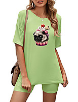 cheap -Women's Basic Streetwear Animal Vacation Casual / Daily Two Piece Set Tracksuit T shirt Loungewear Biker Shorts Print Tops