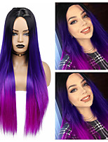 cheap -Long Straight Synthetic Wig Ombre Purple Hair For Women Middle Part Hair Heat Resistant Fiber Party Daily Bundle Hair Wig