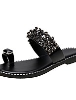 cheap -Women's Sandals Flat Heel Round Toe PU Black Silver
