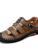cheap -Men's Sandals Beach Daily Nappa Leather Breathable Non-slipping Wear Proof Black Khaki Gray Spring Summer