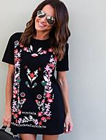 baratos -2019 cross-border e-commerce moda europeia e americana nova estampa de manga curta slim minissaia vestido t-shirt estampado