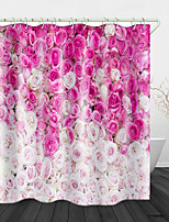 cheap -Pink Rose Print Waterproof Fabric Shower Curtain for Bathroom Home Decor Covered Bathtub Curtains Liner Includes with Hooks