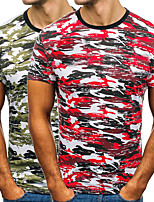 cheap -Men's T shirt Hiking Tee shirt Short Sleeve Crew Neck Tee Tshirt Top Outdoor Quick Dry Lightweight Breathable Sweat wicking Autumn / Fall Spring Summer Camo / Camouflage Red camouflage Army fan