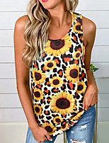cheap -Women's Going out Tank Top Floral Leopard Sunflower Print Round Neck Tops Basic Streetwear Basic Top Blue Red Yellow