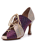 cheap -2021 New Women's Latin Shoes High Heel Crystal / Rhinestone Crystal Heel Open Toe Dark Red Black Lace-up Glitter Crystal Sequined Jeweled / Satin