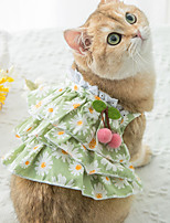 cheap -Dog Cat Dress Bowknot Flower Elegant Adorable Cute Casual / Daily Dog Clothes Puppy Clothes Dog Outfits Breathable Green Costume for Girl and Boy Dog Cotton Fabric XS S M L XL XXL