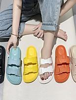 cheap -Women's Sandals Flat Heel Round Toe PU Synthetics White Black Yellow