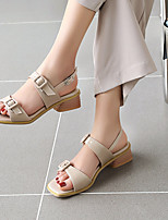cheap -Women's Sandals Chunky Heel Round Toe PU Buckle Solid Colored Almond White Blue