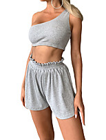 cheap -Women's Streetwear Solid Color Vacation Going out Two Piece Set Crop Top Tracksuit Loungewear Shorts Tops