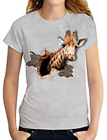 cheap -Women's T shirt 3D Giraffe Animal Print Round Neck Tops Basic Basic Top White Black Gray