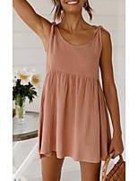 baratos -Mulheres Vestido Swing Mini vestido curto Branco Rosa Sem Manga Côr Sólida Patchwork Outono Verão Decote Redondo Elegante Casual 2021 S M L XL