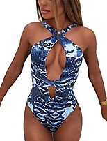 cheap -womans halter plunge neck hollow out backless tummy control monokini swimsuit bathing suit blue s