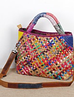 cheap -factory wholesale on behalf of the characteristic hand-woven bag ethnic style color striped leather portable messenger female bag