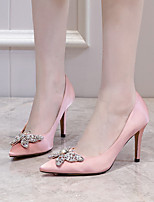 cheap -Women's Wedding Shoes Stiletto Heel Pointed Toe Wedding Pumps Satin Rhinestone Solid Colored White Black Pink