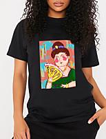 cheap -Women's T shirt Cartoon Graphic Portrait Print Round Neck Tops 100% Cotton Basic Basic Top Black