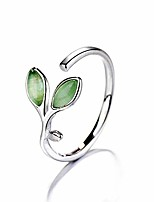 cheap -cat's eye leaf style ring japanese and korean style adjustable ring wear on any finger longing for advocating simple and nature (green)
