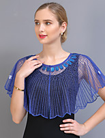 cheap -Short Sleeve Elegant / Sweet Tulle / Sequined Wedding / Party / Evening Shawl & Wrap / Women's Wrap With Beading / Split Joint / Solid