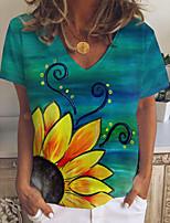 cheap -Women's T shirt Floral Graphic Print V Neck Tops Basic Basic Top Green
