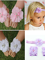 cheap -european and american baby wrist flower wholesale foreign trade children's hand-sewn chiffon rhinestone head flower hair band foot flower set