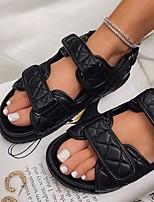 cheap -Women's Sandals Flat Heel Open Toe Linen PU Striped White Black Light Red