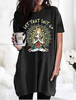 cheap -Women's T shirt Dress Graphic Portrait Round Neck Tops Basic Basic Top Black Wine Army Green