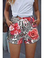 cheap -Women's Stylish Basic Comfort Beach Weekend Active Pants Flower / Floral Leopard Colorful Short Sporty Elastic Drawstring Design Print Blushing Pink