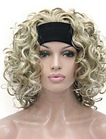 cheap -Blonde Highlights Short 3/4 Women's Synthetic Wigs Hairpiece Curly Hair Piece with Headband COLOUR CHOICES