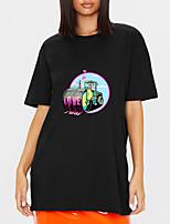 cheap -Women's T shirt Cartoon Letter Print Round Neck Tops 100% Cotton Basic Basic Top Black