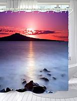 cheap -White Lake Sunset Digital Printing Shower Curtain Shower Curtains Hooks Modern Polyester New Design