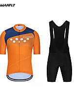 cheap -CAWANFLY Boys' Short Sleeve Cycling Padded Shorts Cycling Jersey with Bib Shorts Cycling Jersey with Shorts Spandex Blue+Orange Bike Shorts Breathable Sports Geometic Mountain Bike MTB Road Bike