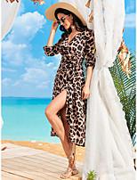 cheap -Women's Sundress Maxi long Dress Brown Long Sleeve Polka Dot Fall Spring Sexy 2021 S M L XL