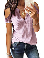 cheap -Women's Stylish Check Pattern Stripe Striped Solid Color Sweater Short Sleeves Sweater Cardigans V Neck Summer White Black Blushing Pink