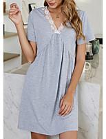 cheap -Women's A Line Dress Short Mini Dress Gray Short Sleeve Solid Color Patchwork Fall Summer V Neck Elegant Casual 2021 S M L XL