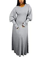 preiswerte -Aro Lora Frauen plus Größe lässig Puffärmel Rundhalsausschnitt Long Swing Maxikleider groß grau