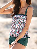 cheap -Women's Tankini Swimwear Quick Dry Sleeveless 2 Piece - Swimming Surfing Water Sports Spot Leopard Summer