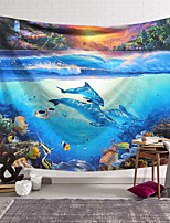 cheap -Wall Tapestry Art Decor Blanket Curtain Hanging Home Bedroom Living Room Decoration Polyester Ancient World of Underwater Dolphins