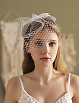 cheap -One-tier Glamorous & Dramatic / Vintage Inspired Wedding Veil Blusher Veils with Satin Bow Tulle