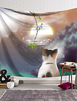 cheap -Wall Tapestry Art Decor Blanket Curtain Hanging Home Bedroom Living Room Decoration Polyester Cat Watching the Moon