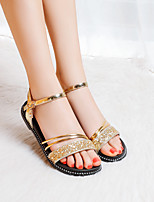 cheap -Girls' Sandals Flower Girl Shoes Princess Shoes PU Mary Jane Big Kids(7years +) Daily Buckle Gold Silver Summer