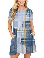 cheap -Women's T Shirt Dress Tee Dress Short Mini Dress Blue Short Sleeve Print Color Block Pocket Print Spring Summer Round Neck Casual 2021 S M L XL XXL 3XL