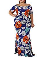 cheap -gosopin women plus size off shoulder evening gown ruffle floral maxi dress x-large blue