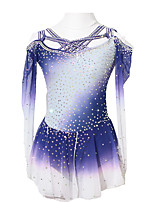 cheap -Figure Skating Dress Women's Girls' Ice Skating Dress Violet Patchwork Asymmetric Hem Spandex High Elasticity Competition Skating Wear Crystal / Rhinestone Long Sleeve Ice Skating Figure Skating