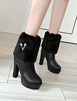 cheap -Women's Boots Chunky Heel Round Toe Mid Calf Boots PU Solid Colored White Black Pink / Mid-Calf Boots